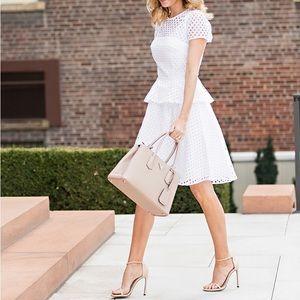 BANANA REPUBLIC White Eyelet Peplum Midi Dress 4P